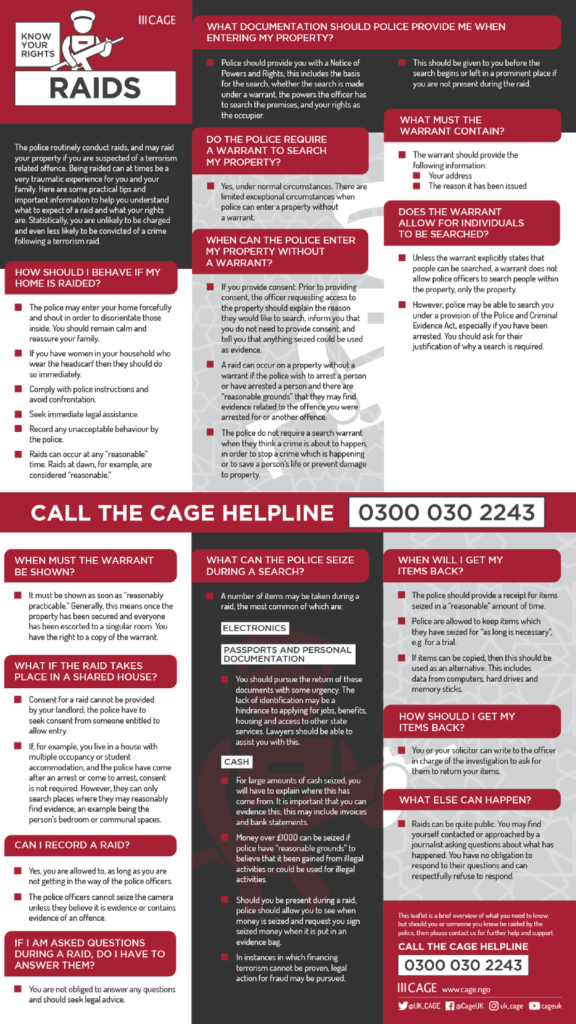 Raids Know Your Rights leaflet