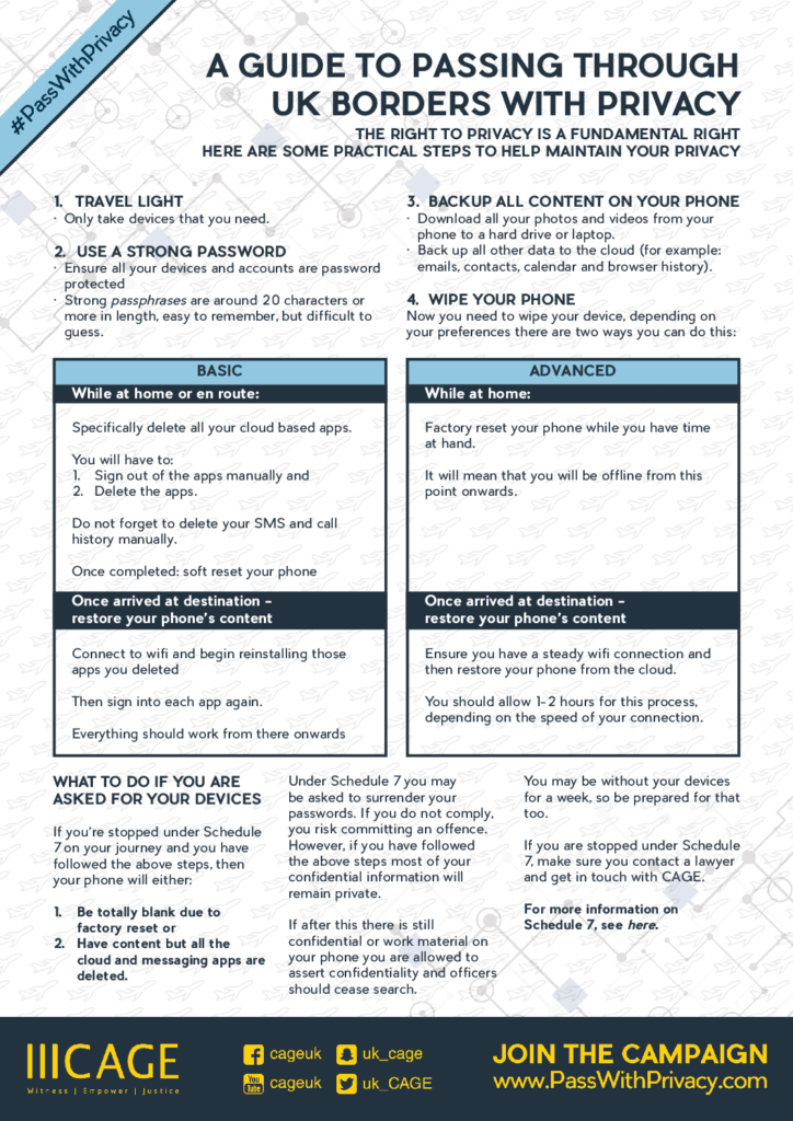 Schedule 7 Know Your Rights leaflet